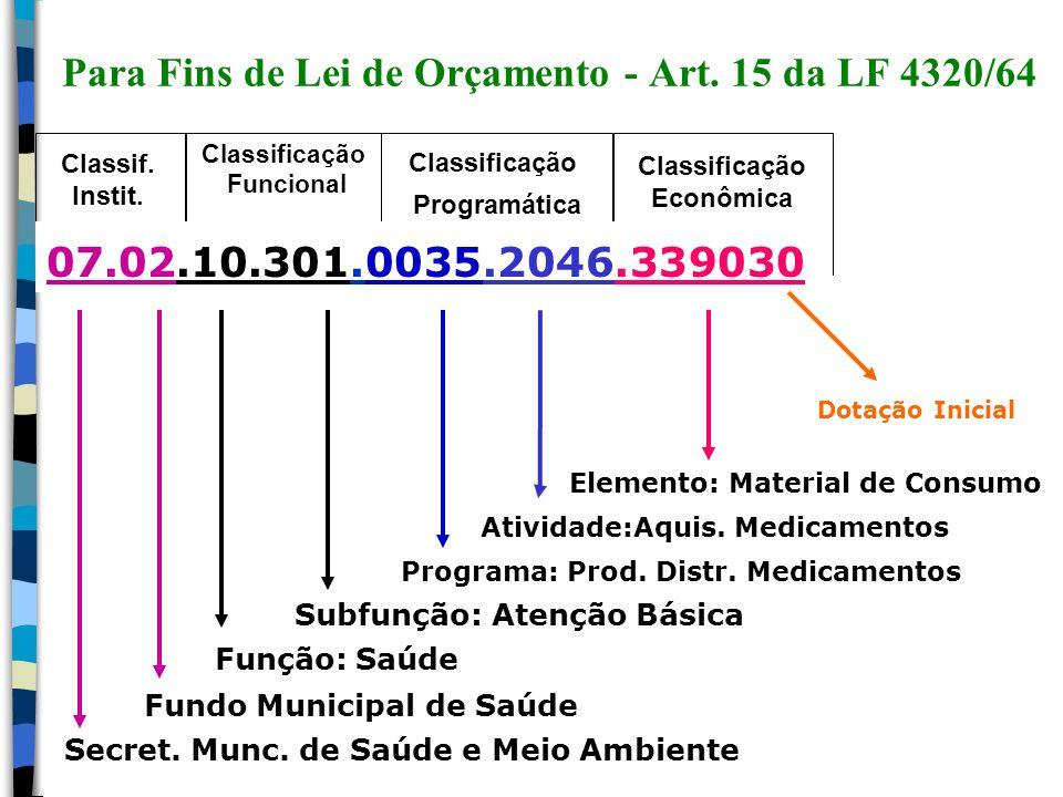 Para Fins de Lei de Orçamento - Art. 15 da LF 4320/64