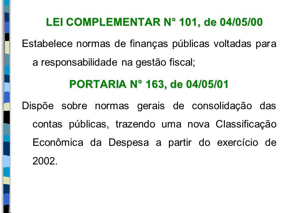LEI COMPLEMENTAR N° 101, de 04/05/00