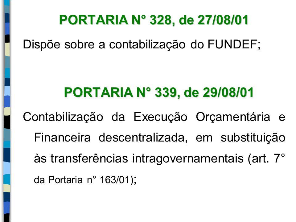 PORTARIA N° 328, de 27/08/01 Dispõe sobre a contabilização do FUNDEF;