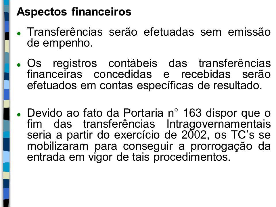 Aspectos financeiros Transferências serão efetuadas sem emissão de empenho.