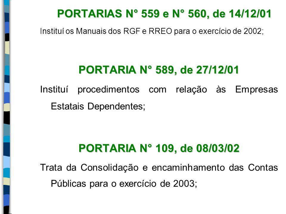PORTARIA N° 589, de 27/12/01 PORTARIA N° 109, de 08/03/02