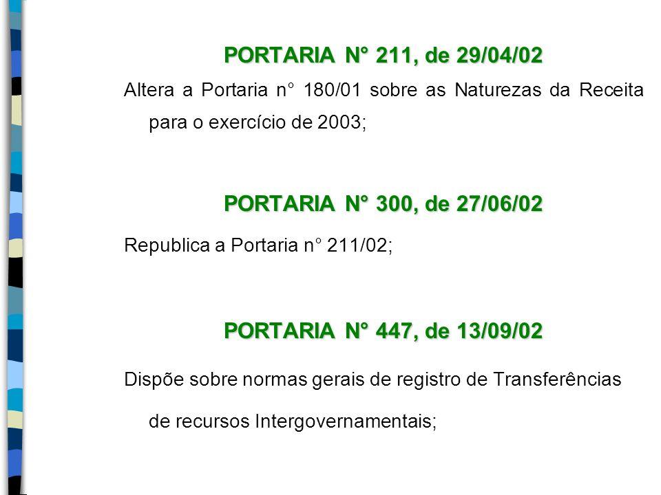 PORTARIA N° 211, de 29/04/02 PORTARIA N° 300, de 27/06/02