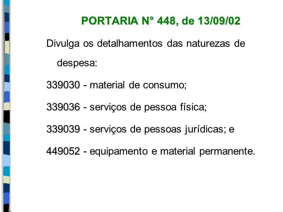 PORTARIA N° 448, de 13/09/02 Divulga os detalhamentos das naturezas de despesa: 339030 - material de consumo;