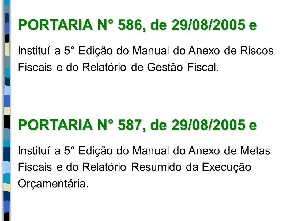 PORTARIA N° 586, de 29/08/2005 e PORTARIA N° 587, de 29/08/2005 e