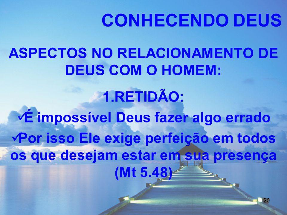 CONHECENDO DEUS ASPECTOS NO RELACIONAMENTO DE DEUS COM O HOMEM: