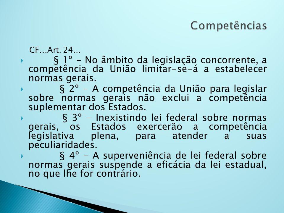 Competências CF...Art. 24... § 1º - No âmbito da legislação concorrente, a competência da União limitar-se-á a estabelecer normas gerais.