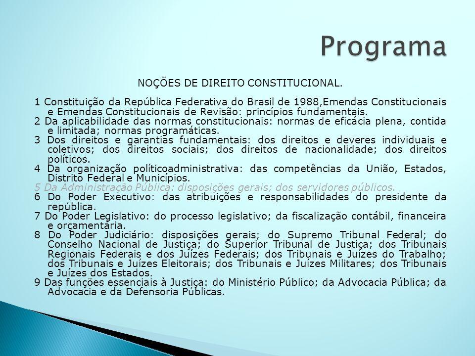 NOÇÕES DE DIREITO CONSTITUCIONAL.
