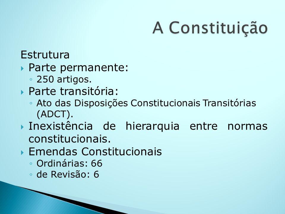 A Constituição Estrutura Parte permanente: Parte transitória: