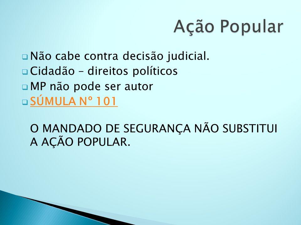 Ação Popular Não cabe contra decisão judicial.
