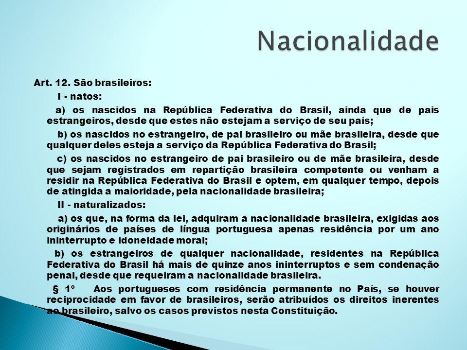 Nacionalidade Art. 12. São brasileiros: I - natos: