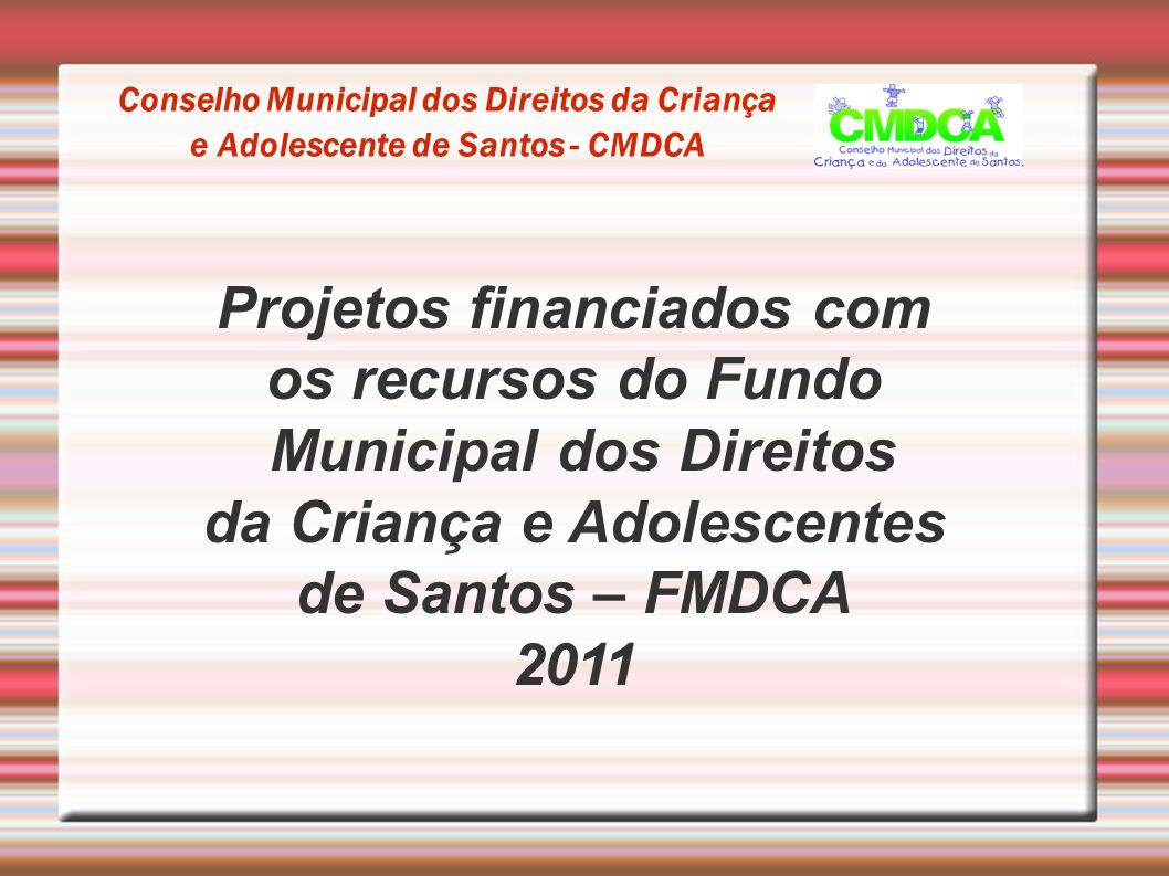 Projetos financiados com os recursos do Fundo Municipal dos Direitos