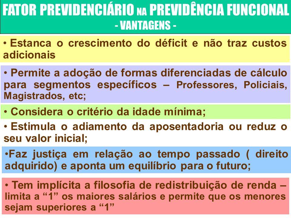 FATOR PREVIDENCIÁRIO NA PREVIDÊNCIA FUNCIONAL