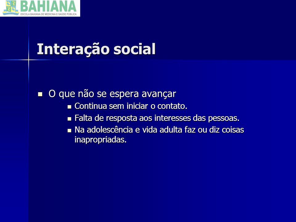 Interação social O que não se espera avançar
