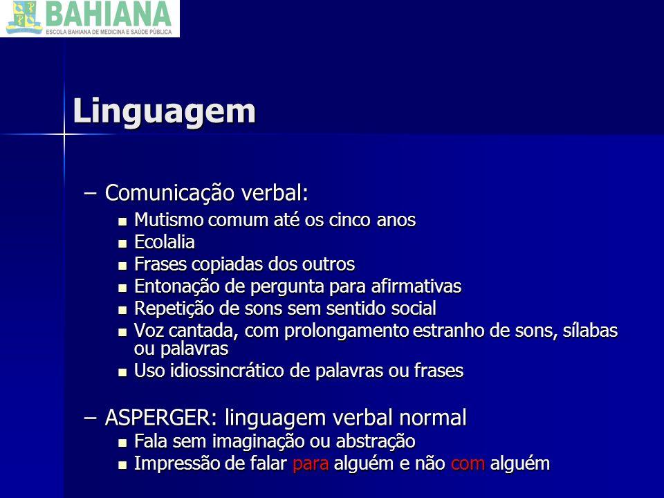 Linguagem Comunicação verbal: ASPERGER: linguagem verbal normal