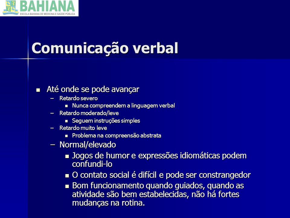 Comunicação verbal Até onde se pode avançar Normal/elevado