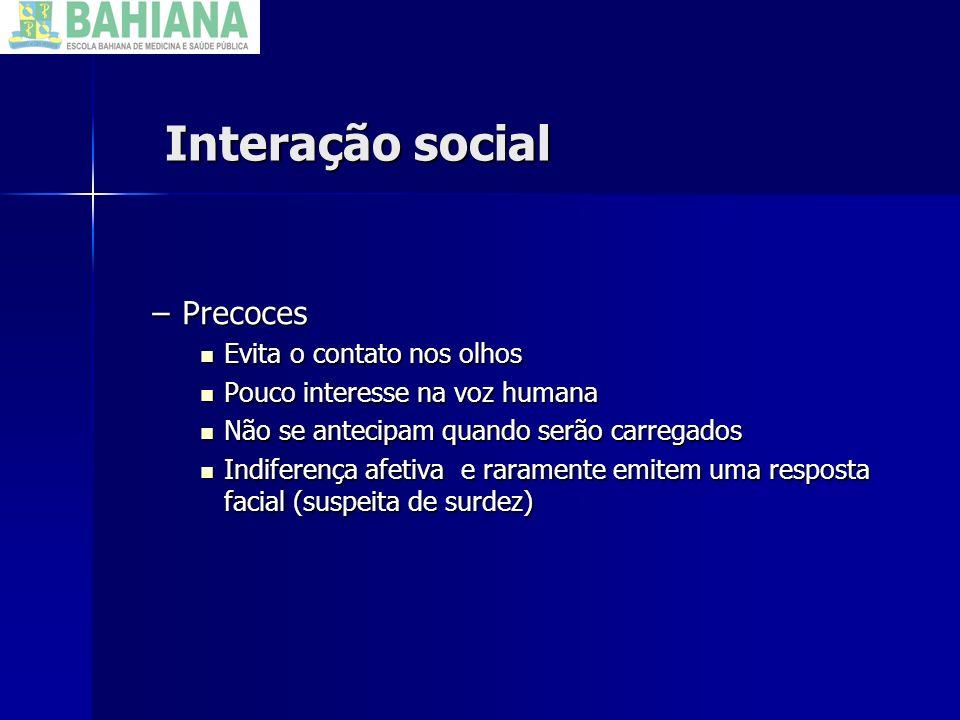 Interação social Precoces Evita o contato nos olhos