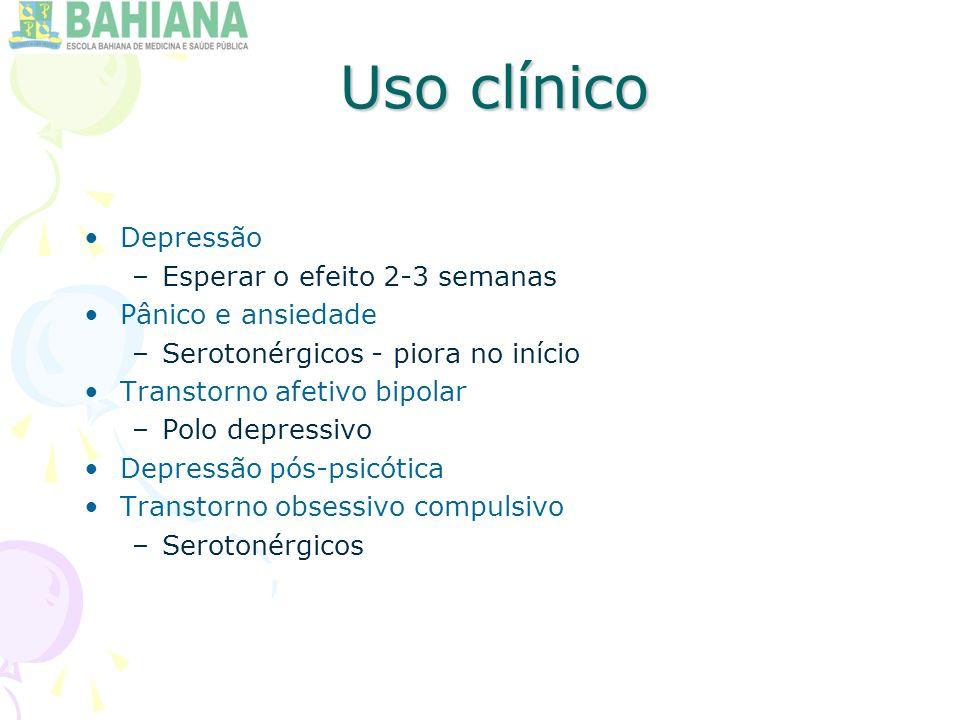 Uso clínico Depressão Esperar o efeito 2-3 semanas Pânico e ansiedade