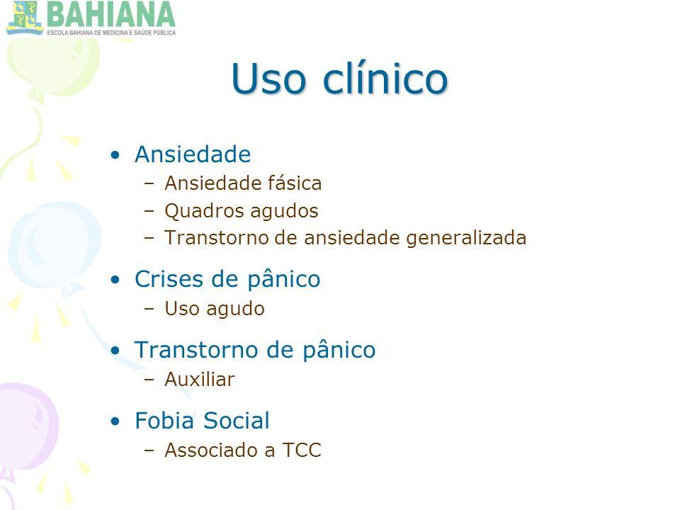 Uso clínico Ansiedade Crises de pânico Transtorno de pânico