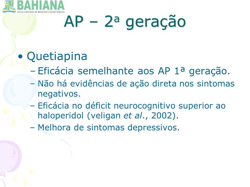 AP – 2a geração Quetiapina Eficácia semelhante aos AP 1ª geração.