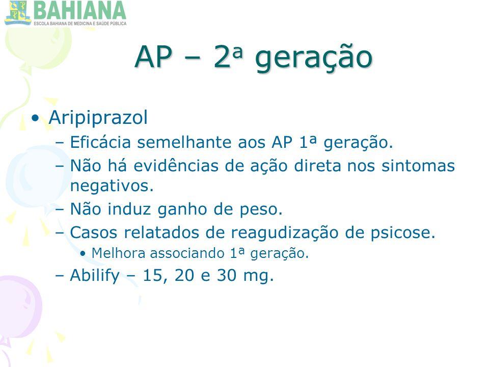 AP – 2a geração Aripiprazol Eficácia semelhante aos AP 1ª geração.