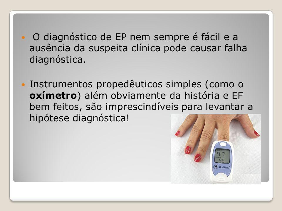 O diagnóstico de EP nem sempre é fácil e a ausência da suspeita clínica pode causar falha diagnóstica.