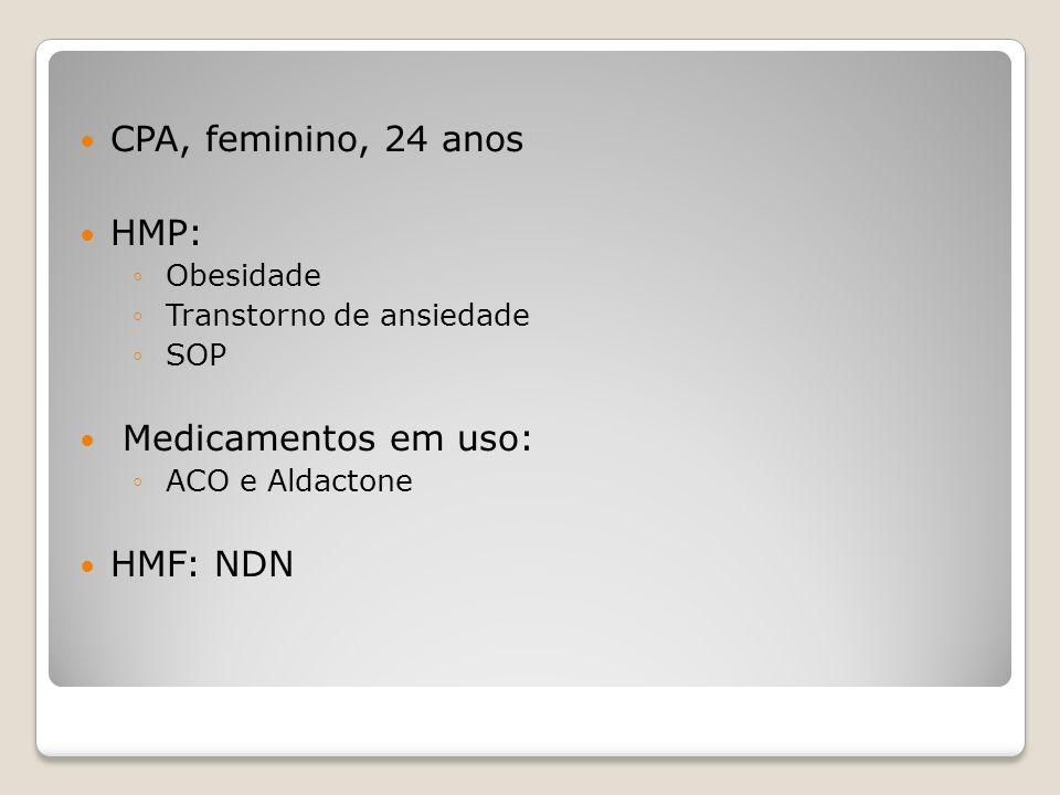 CPA, feminino, 24 anos HMP: Medicamentos em uso: HMF: NDN Obesidade