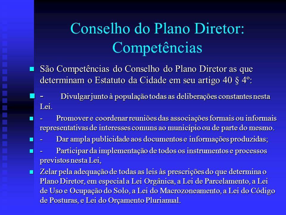 Conselho do Plano Diretor: Competências
