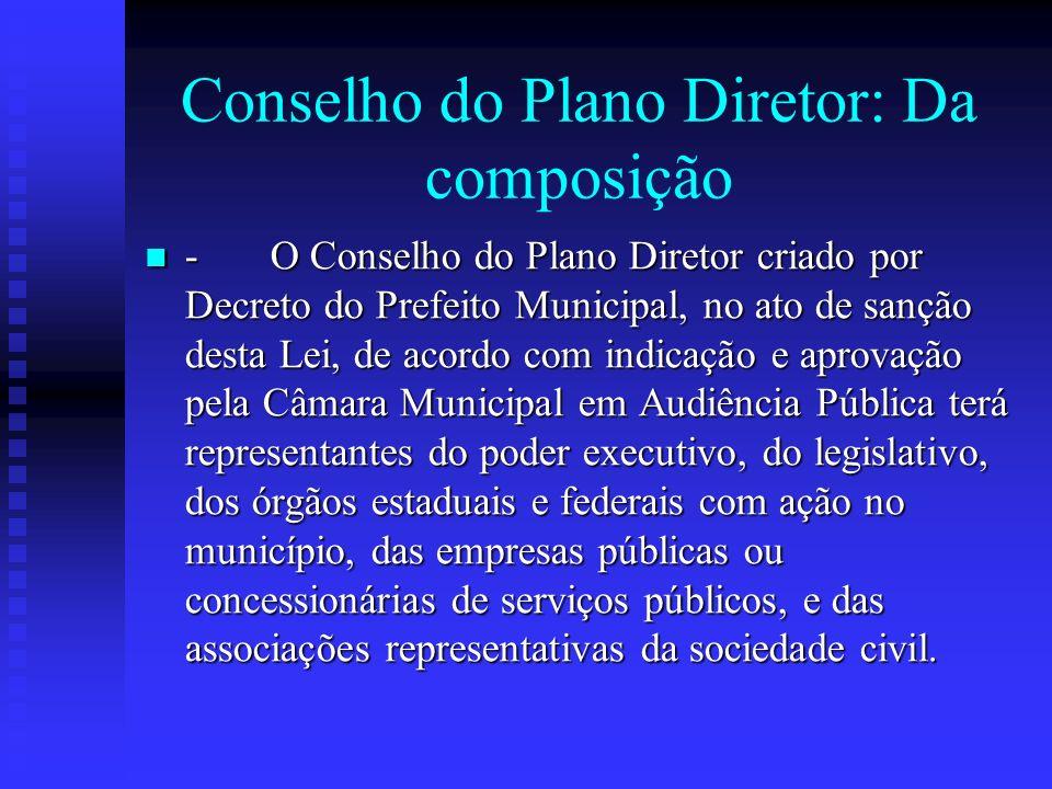 Conselho do Plano Diretor: Da composição