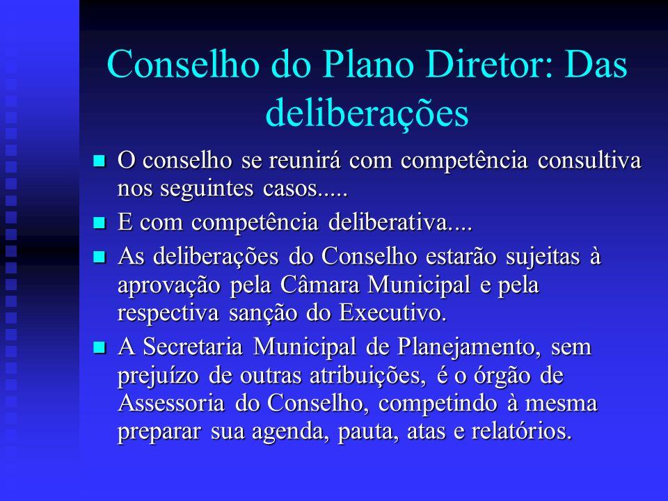Conselho do Plano Diretor: Das deliberações