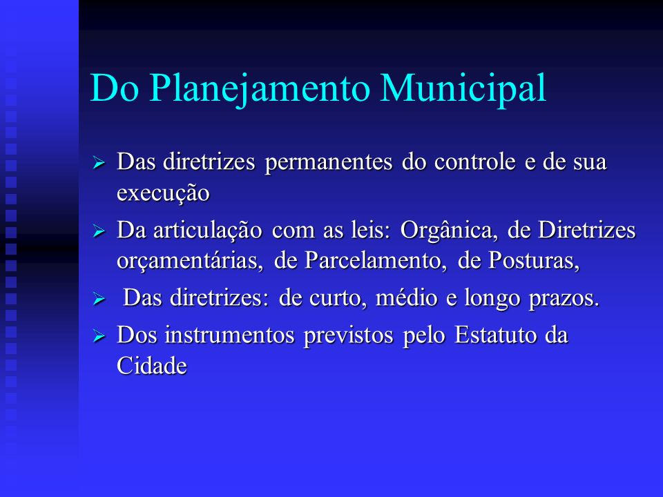 Do Planejamento Municipal