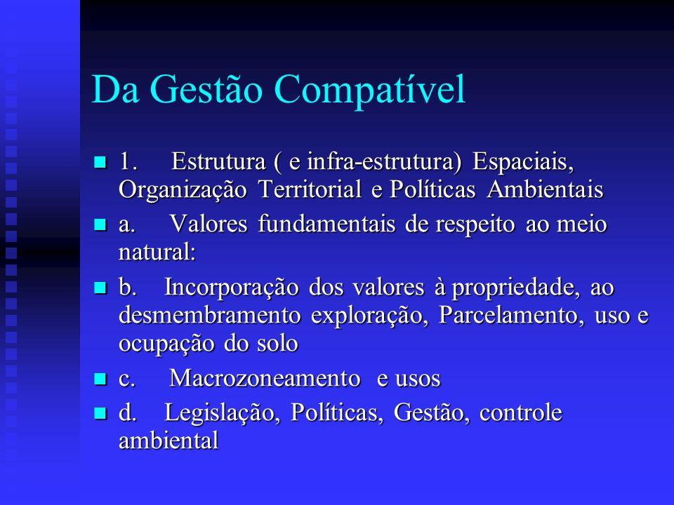 Da Gestão Compatível 1. Estrutura ( e infra-estrutura) Espaciais, Organização Territorial e Políticas Ambientais.