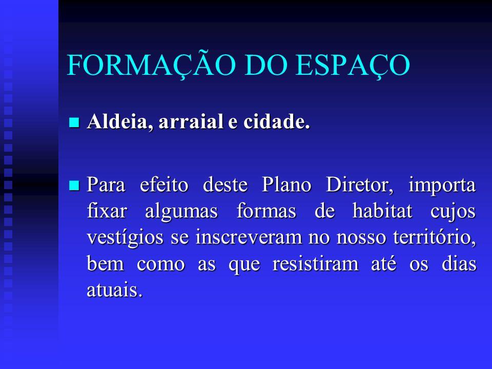 FORMAÇÃO DO ESPAÇO Aldeia, arraial e cidade.