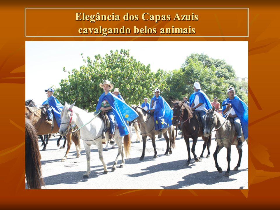 Elegância dos Capas Azuis cavalgando belos animais