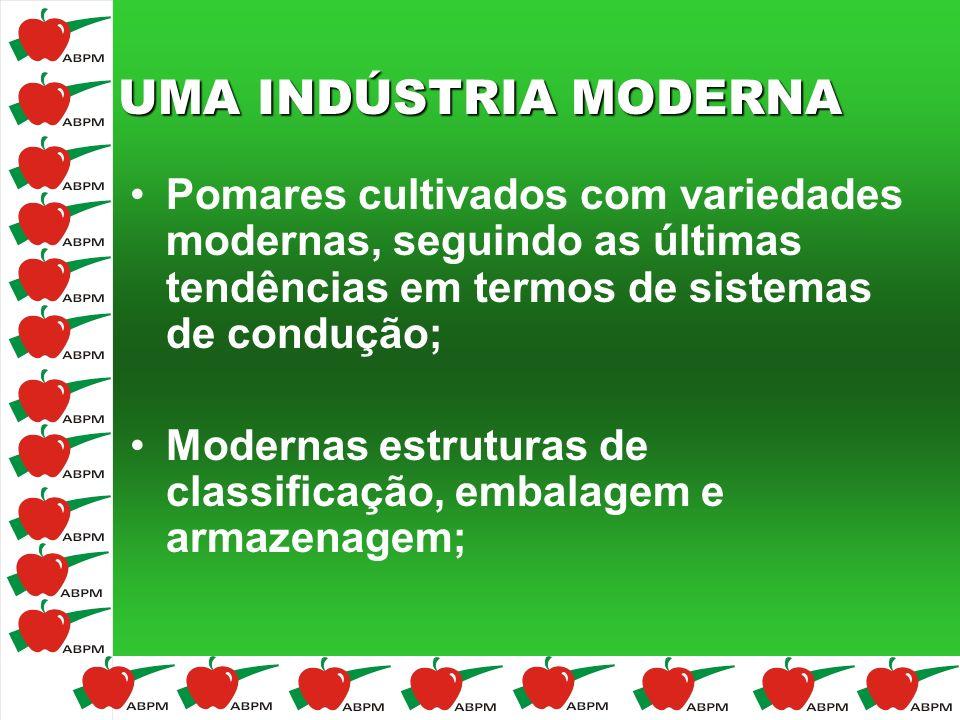 UMA INDÚSTRIA MODERNA Pomares cultivados com variedades modernas, seguindo as últimas tendências em termos de sistemas de condução;