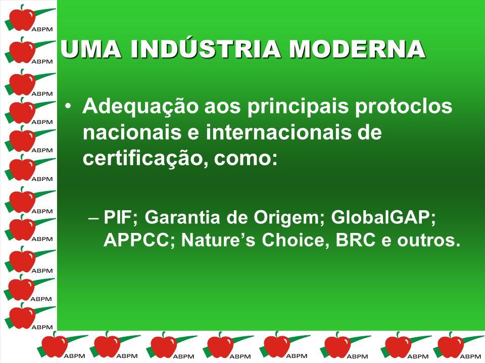 UMA INDÚSTRIA MODERNA Adequação aos principais protoclos nacionais e internacionais de certificação, como: