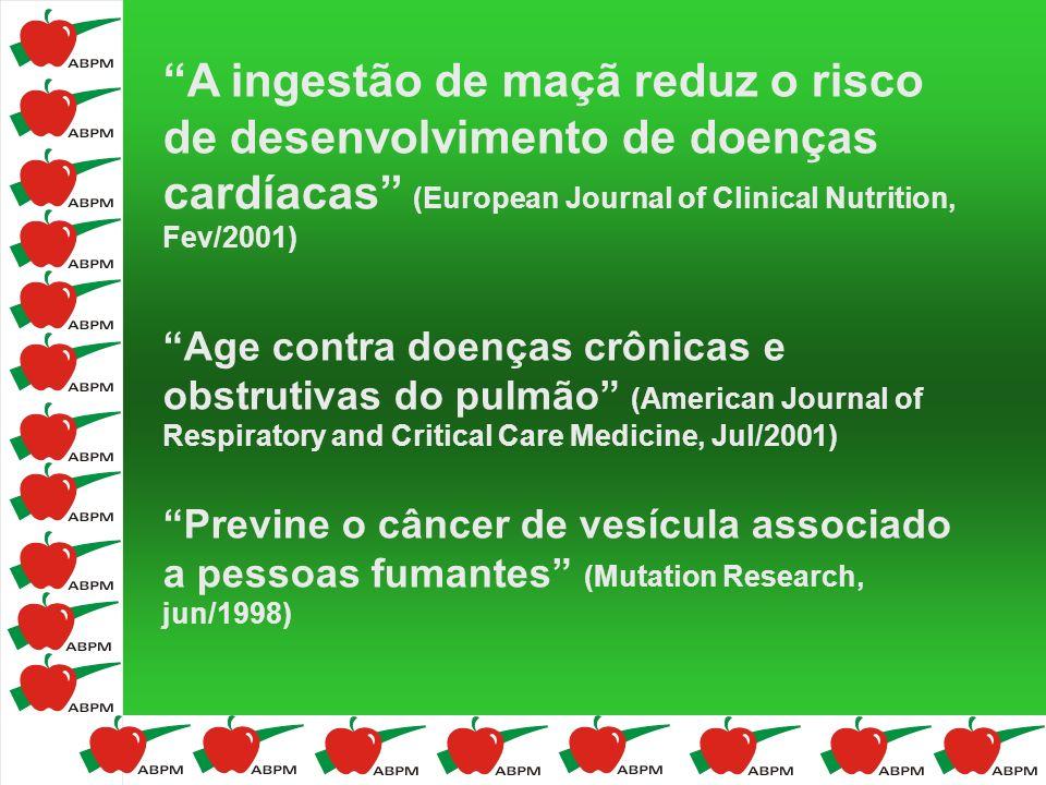 A ingestão de maçã reduz o risco de desenvolvimento de doenças cardíacas (European Journal of Clinical Nutrition, Fev/2001)