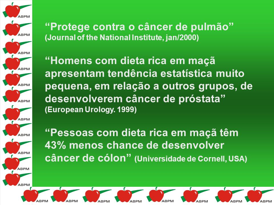 Protege contra o câncer de pulmão (Journal of the National Institute, jan/2000)