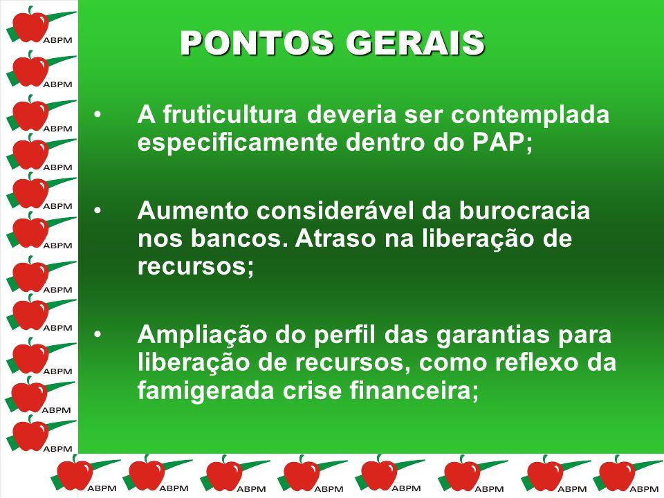 PONTOS GERAIS A fruticultura deveria ser contemplada especificamente dentro do PAP;