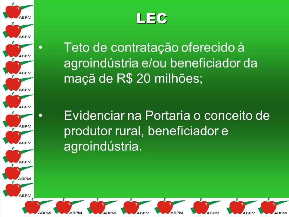 LEC Teto de contratação oferecido à agroindústria e/ou beneficiador da maçã de R$ 20 milhões;