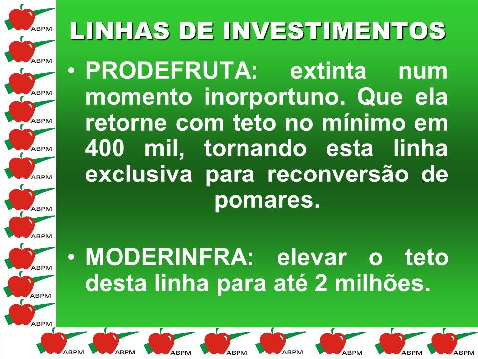 LINHAS DE INVESTIMENTOS