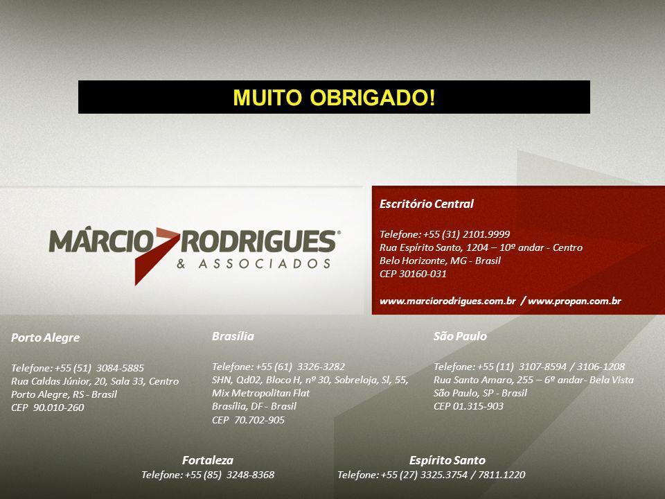 MUITO OBRIGADO! Escritório Central Porto Alegre Brasília São Paulo