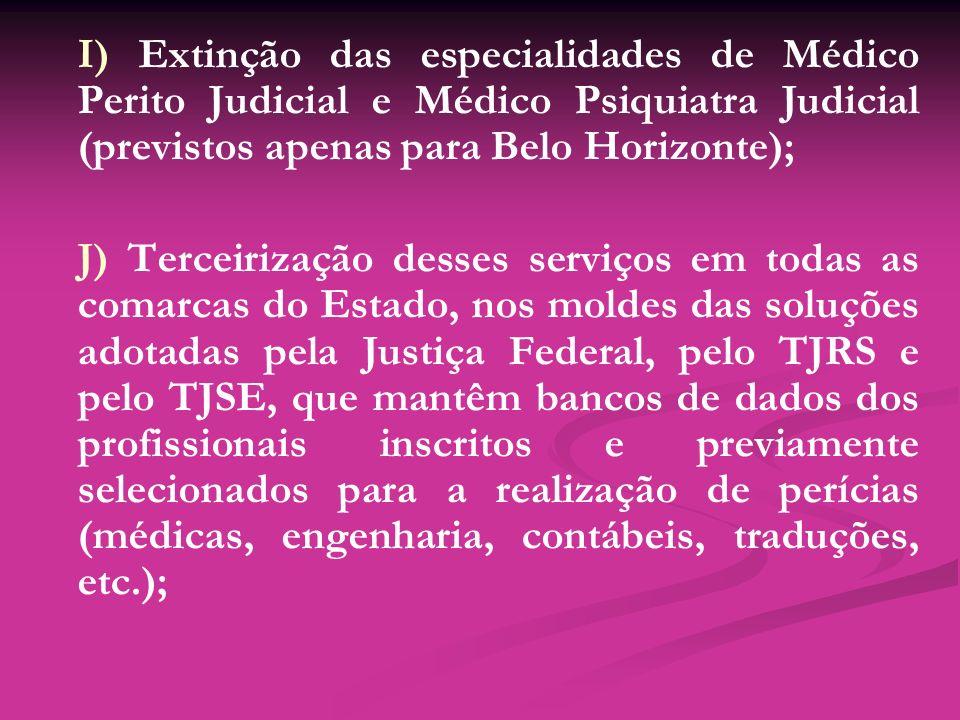 I) Extinção das especialidades de Médico Perito Judicial e Médico Psiquiatra Judicial (previstos apenas para Belo Horizonte);