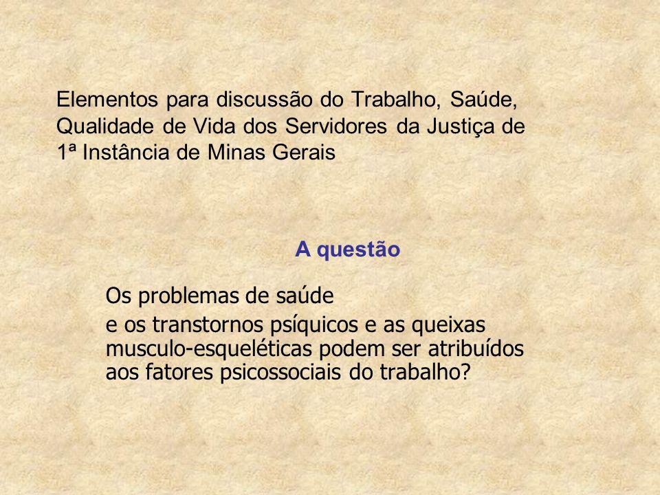 Elementos para discussão do Trabalho, Saúde, Qualidade de Vida dos Servidores da Justiça de 1ª Instância de Minas Gerais