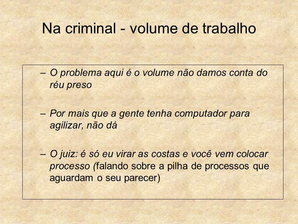 Na criminal - volume de trabalho