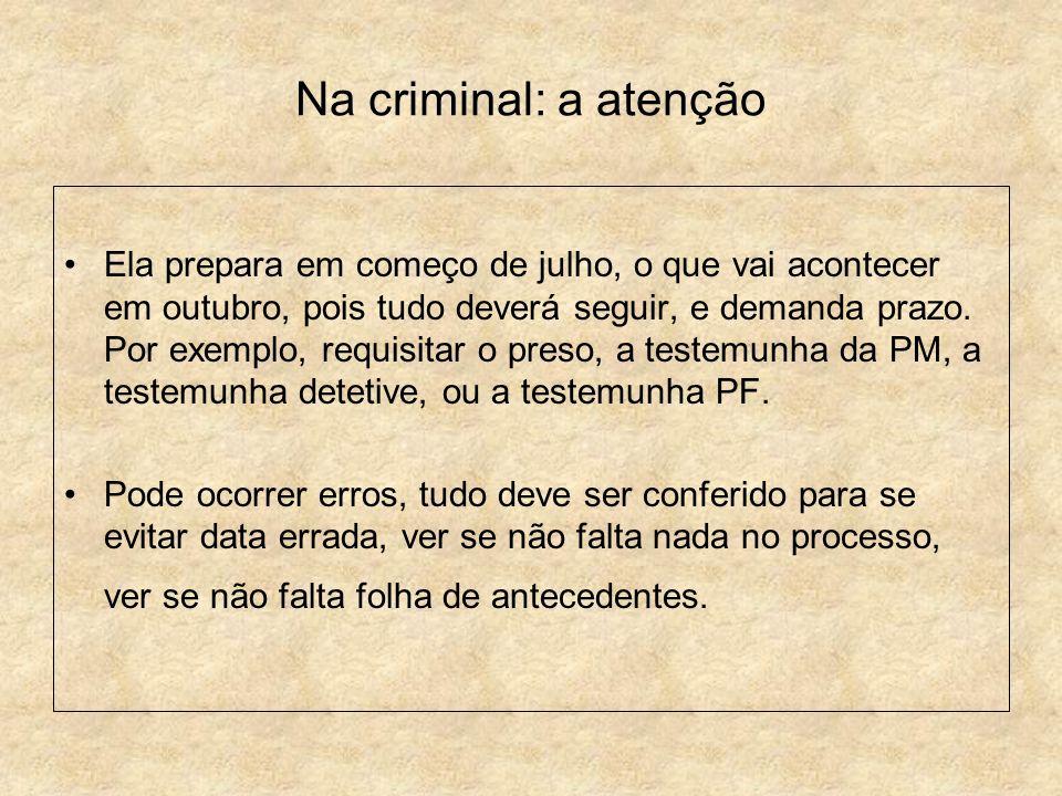 Na criminal: a atenção
