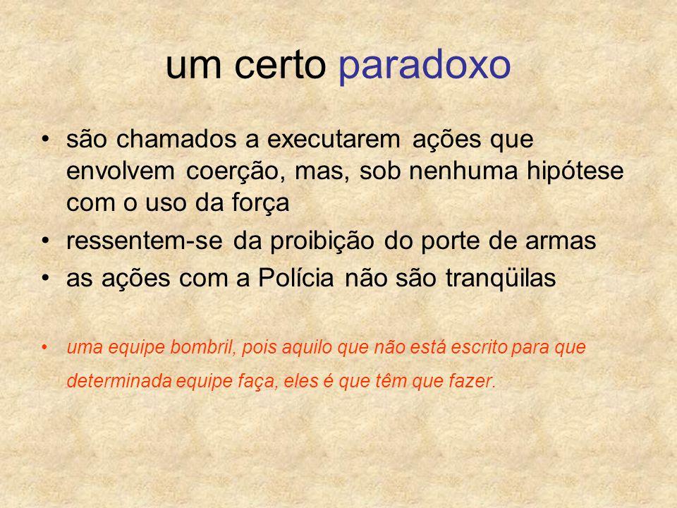 um certo paradoxo são chamados a executarem ações que envolvem coerção, mas, sob nenhuma hipótese com o uso da força.