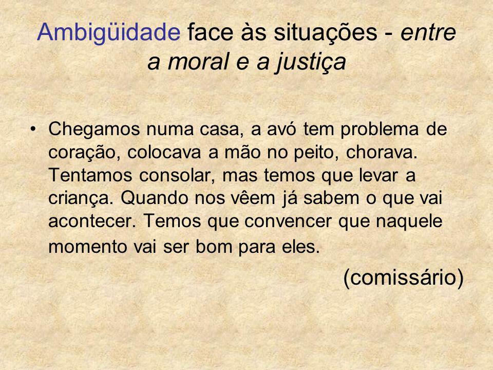 Ambigüidade face às situações - entre a moral e a justiça