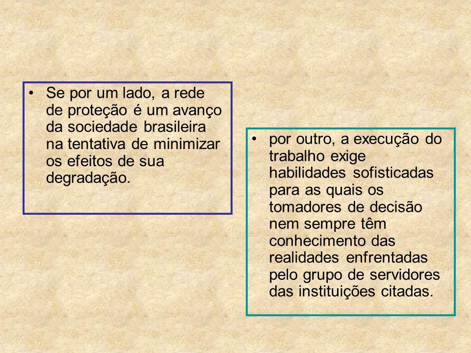 Se por um lado, a rede de proteção é um avanço da sociedade brasileira na tentativa de minimizar os efeitos de sua degradação.