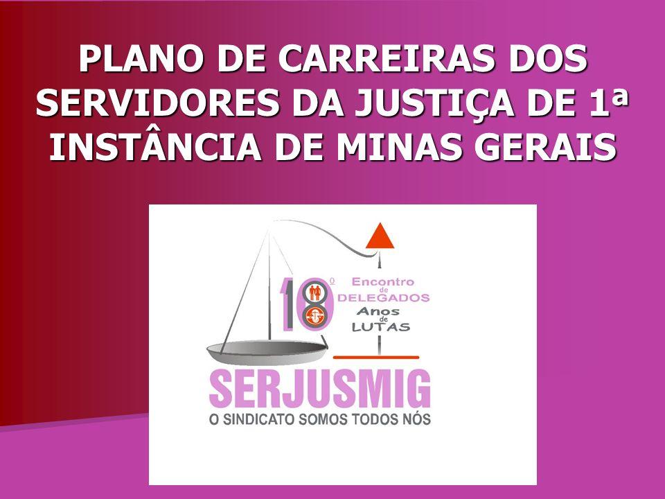 PLANO DE CARREIRAS DOS SERVIDORES DA JUSTIÇA DE 1ª INSTÂNCIA DE MINAS GERAIS