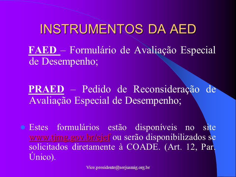 INSTRUMENTOS DA AED FAED – Formulário de Avaliação Especial de Desempenho; PRAED – Pedido de Reconsideração de Avaliação Especial de Desempenho;